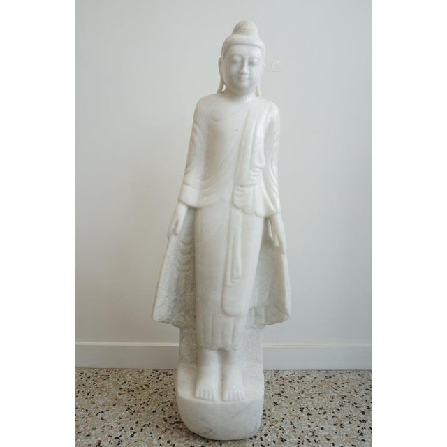 Vintage Standing Buddha Mandalay Style in Carved White Marble For Sale - Image 10 of 10