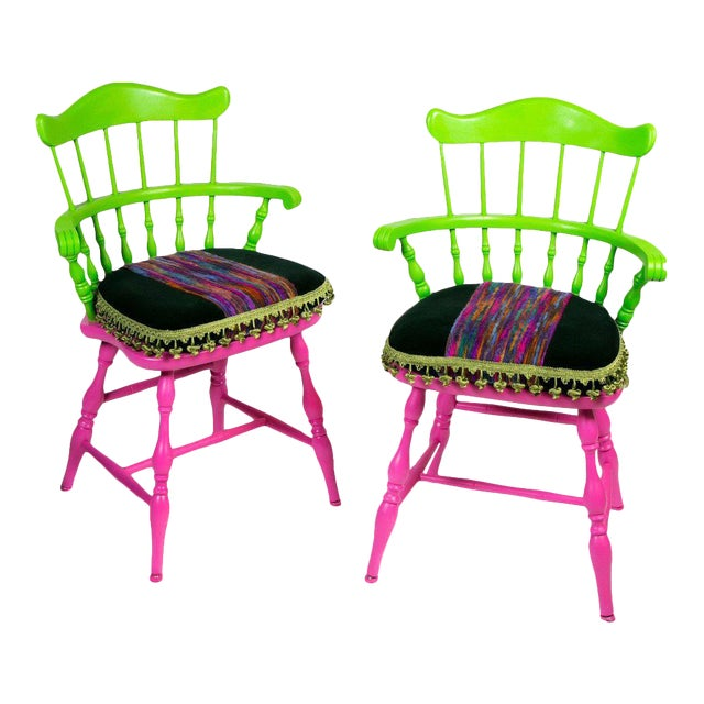 Vibrant Colorful Comb Back Chairs - A Pair - Image 1 of 7