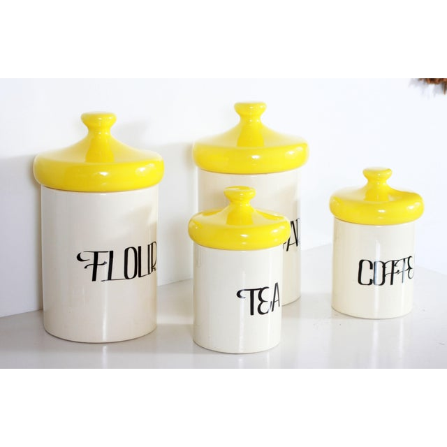 Vintage Mid Century Ceramic Kitchen Canisters - Set of 4