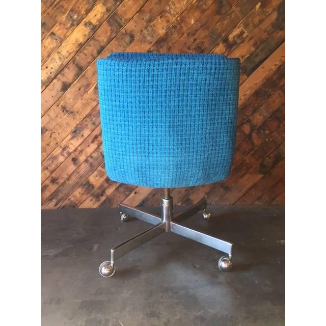 Vintage Reupholstered Rolling Office Chair - Image 4 of 6