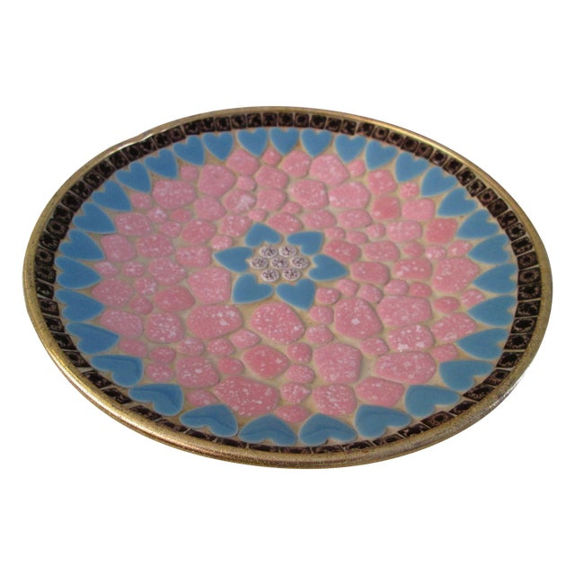 Midcentury Mosaic Tile Shallow Bowl For Sale