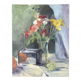Acrylic Still Life Painting on Canvas Board of Toaster and Florals For Sale