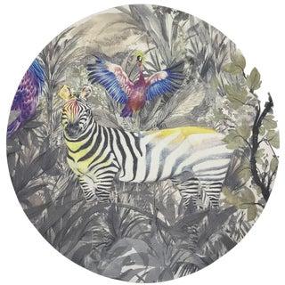"Nicolette Mayer Arcadia Zebra 16"" Round Pebble Placemat, Set of 4 For Sale"