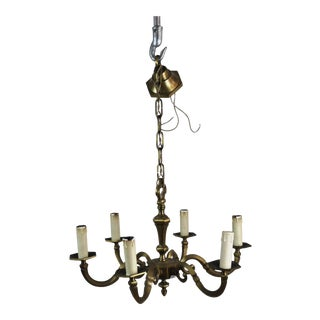 Antique French Bronze Six-Light Chandelier For Sale