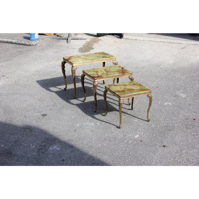 Green 1940s French Maison Jansen Bronze Onyx Top Nesting Tables - Set of 3 For Sale - Image 8 of 13