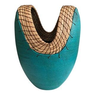 Teal Hand Thrown Ceramic Vase For Sale