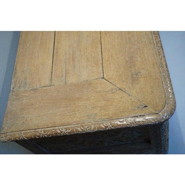 Gold Antique Carved Oak Flemish Coffer Blanket Trunk For Sale - Image 8 of 12