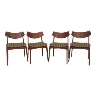 Set of Vintage Modern Teak Dining Chairs For Sale