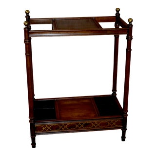 1990s Vintage Ethan Allen Chinese Chippendale Style Umbrella Stand For Sale