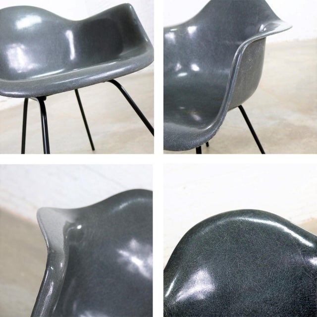 Elephant Hide Gray Eames Herman Miller Molded Fiberglass Dax Arm Shell Chair H Base For Sale - Image 10 of 13