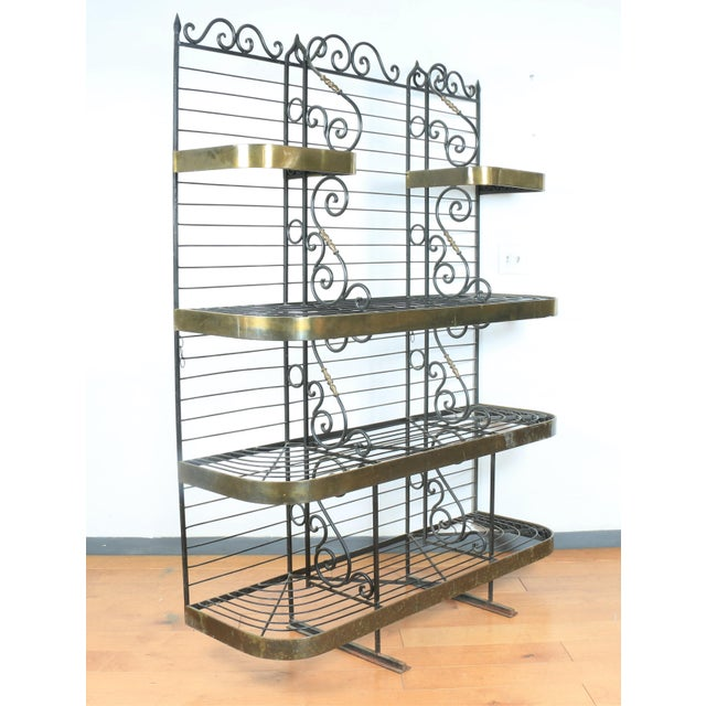 1970s Wrought Iron and Brass Bakers Rack For Sale - Image 5 of 10