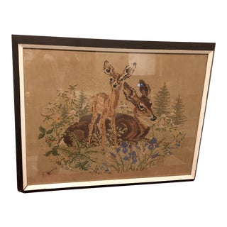 Vintage Deer With Fawn Cross Stitch Framed Textile Art For Sale