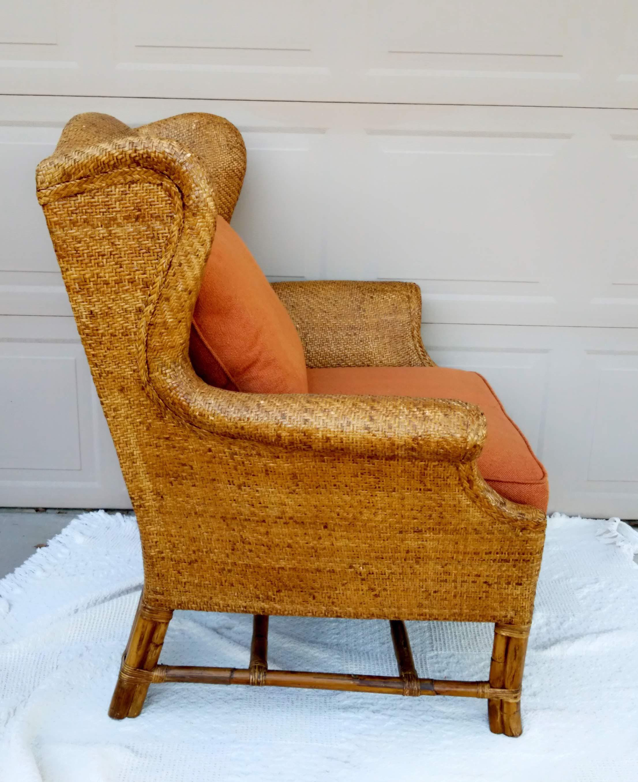 Baker Furniture Company Vintage Baker Furniture Rattan Wingback Chair For  Sale   Image 4 Of 8