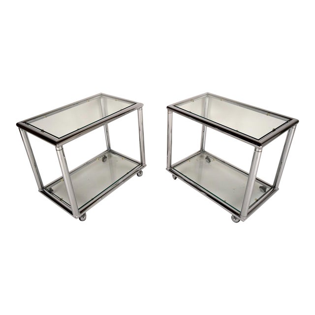 Mid-Century Modern Chrome End Tables - Pair - Image 1 of 7