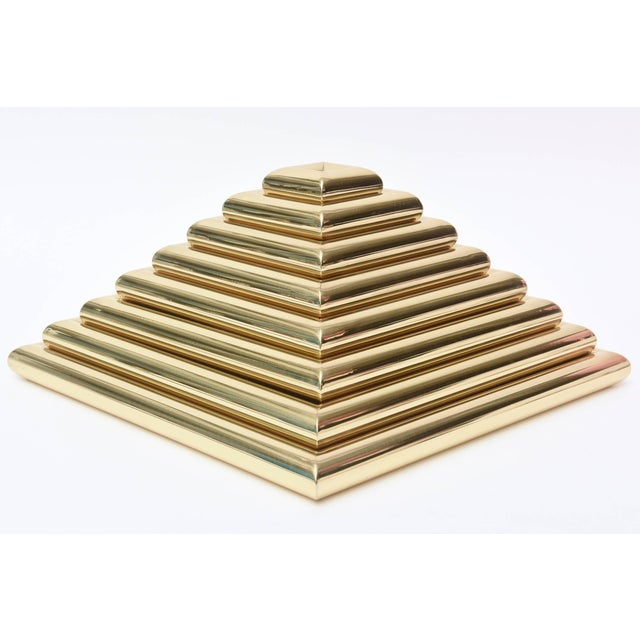 Romeo Rega 1970s Vintage Italian Romeo Rega Pyramid Polished Brass Sculpture / Serving Trays - 8 Pieces For Sale - Image 4 of 9