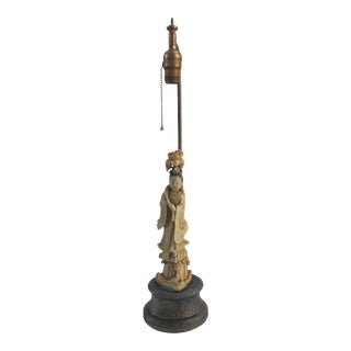 19th-Century Antique Chinese Chinoiserie Carved Jade Figurative Statue Table Lamp For Sale