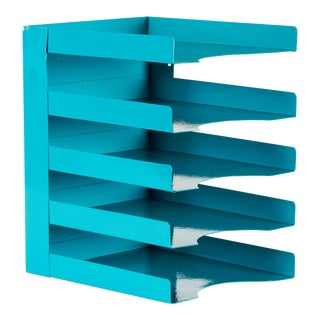 1960s Office Mail Organizer/ Magazine Rack Refinished in Teal For Sale