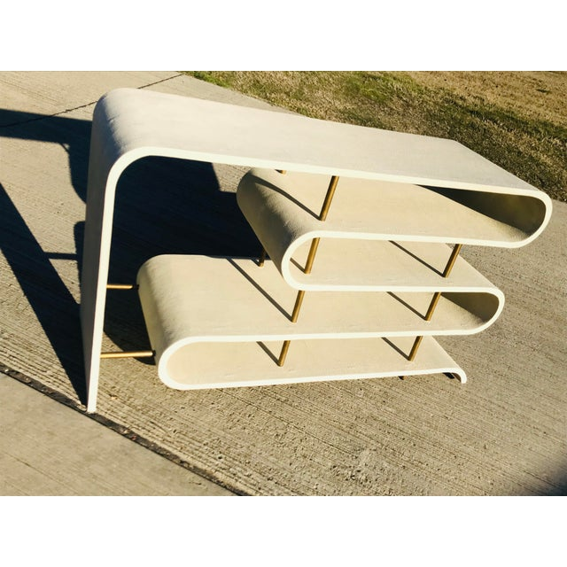 Modern Modern Shangreen Ribbon Brass Sculptural Console Table For Sale - Image 3 of 8