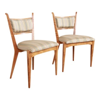 Edmond Spence Swedish Modern Sculpted Tiger Maple Side Chairs, Pair For Sale