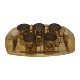 Collection of Mini Brass Mugs With Tray Set For Sale