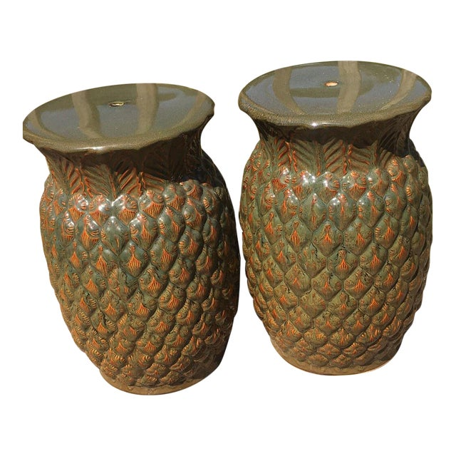 Asian Modern (Made in Italy) Ceramic Pineapple Garden Stools - a Pair For Sale
