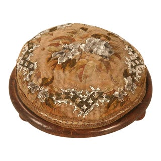 Antique English Ladies Hand Beaded Tuffet or Footstool For Sale