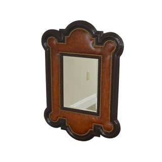 1990s Leather & Wood Frame Brass Studded Wall Mirror For Sale