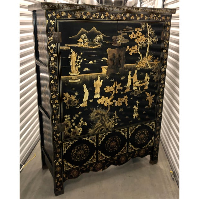 Metal Vintage Chinese Black Lacquer Chinoiserie Cabinet For Sale - Image 7 of 9