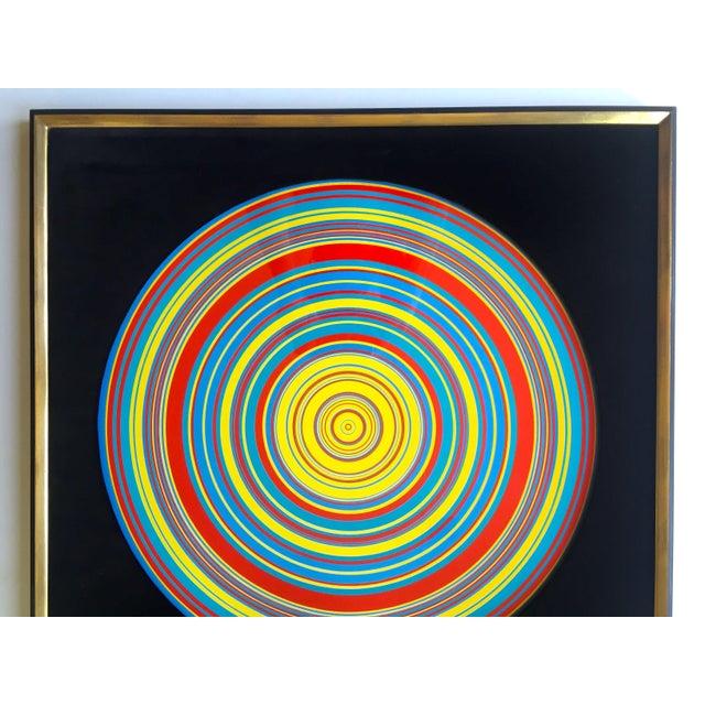 "This "" Tadasky "" Tadasuke Kuwayama rare vintage 1968 Mid Century Modern custom framed Op Art collector's lithograph print..."