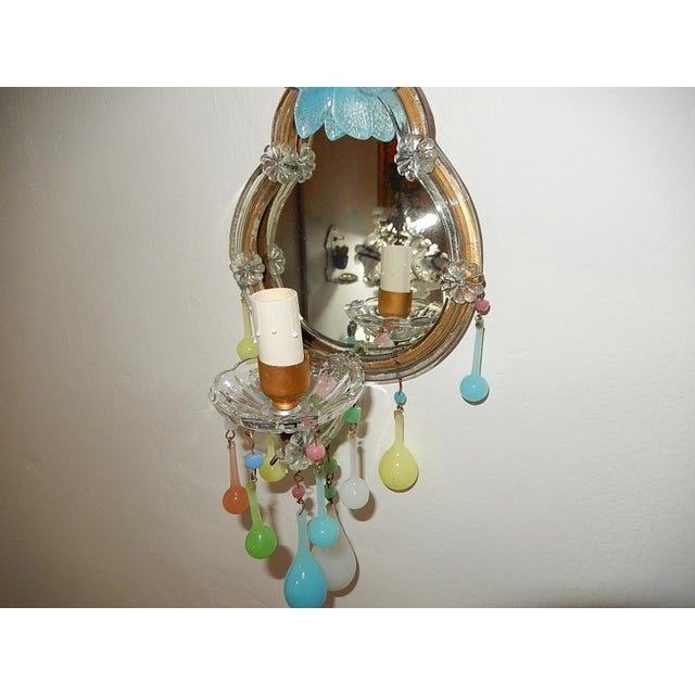 French Multicolored Opaline Murano Glass Mirrored Sconces For Sale - Image 4 of 13