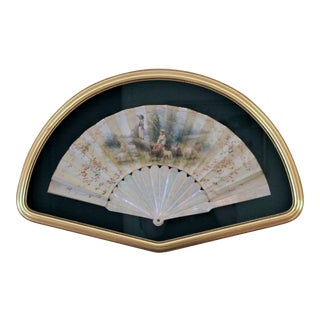 18th Century French Painted Paper Fan With Mother of Pearl Handle For Sale