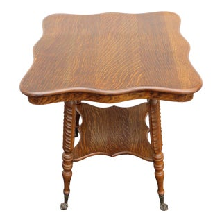 Victorian Solid Tiger Oak Glass Ball and Claw Feet 1900s Side End Table 2155 For Sale