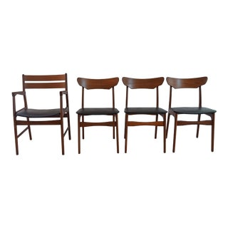 Mid Century Modern Danish Black and Walnut Dining Chairs - Set of 4 For Sale