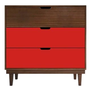 Nico & Yeye Kabano Modern Kids 3 Drawer Dresser Walnut Red For Sale