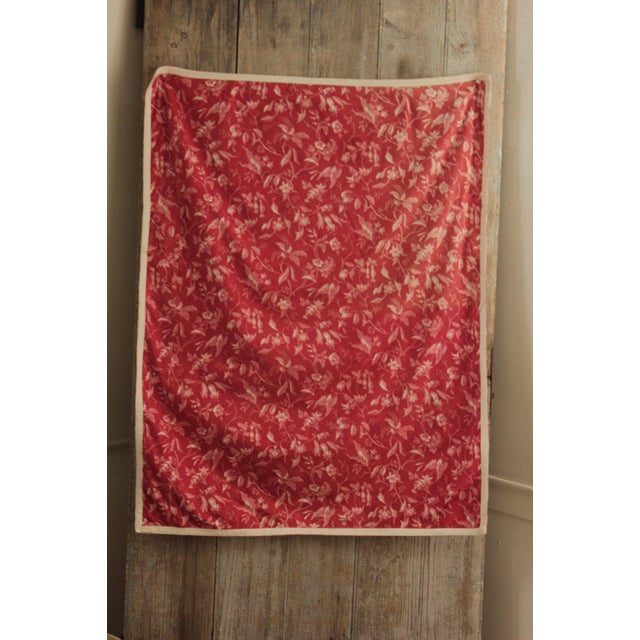 Antique French Pillement Inspired Red Resist Printed Textile Fabric With Ticking For Sale - Image 10 of 10