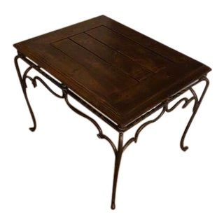 Modern Cast Iron & Wood Top Side Table For Sale