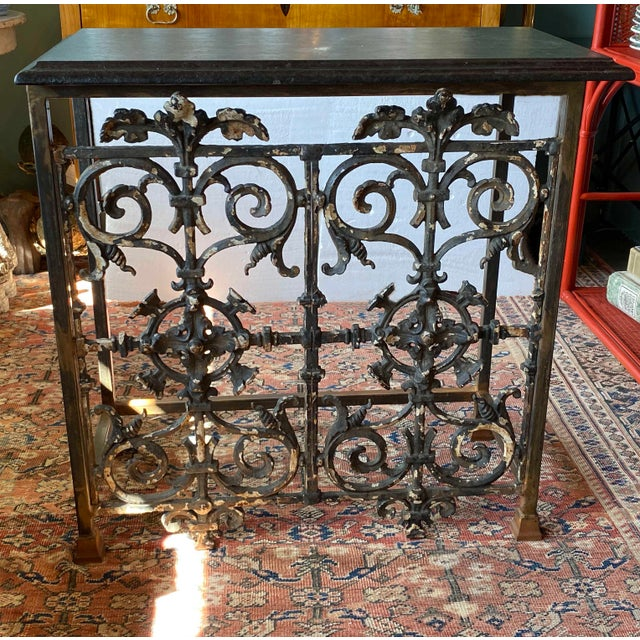 19th Century French Iron Console With Marble Top For Sale In Dallas - Image 6 of 6