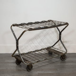 Early 20th C. Factory Wire Metal Rolling Cart C.1930 Preview