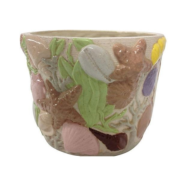 """Green """"Under the Sea"""" Ceramic Planter For Sale - Image 8 of 10"""