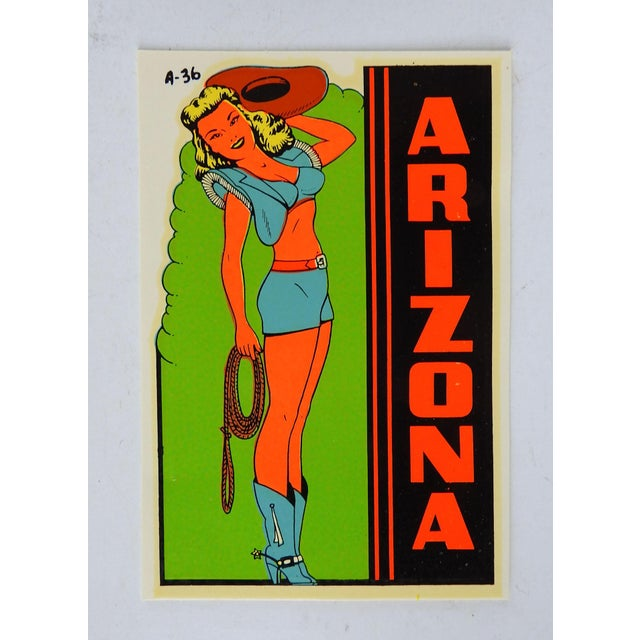 Mid-Century Modern 1950s Arizona Souvenir Pin Up Girl Cowgirl Decal For Sale - Image 3 of 3