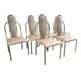 Image of 1980s Vintage Hollywood Regency Gold Upholstered Chairs - Set of 6 For Sale