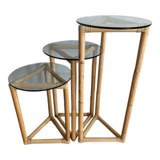 Mid 20th Century Vintage 3 Tier Glass and Rattan Plant Stands - Set of 3 For Sale