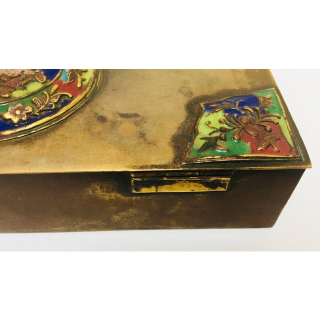 Metal Brass Art Deco Lidded Box With Enameled Decoration For Sale - Image 7 of 13