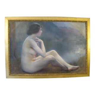 Early 20th Century Antique Nude Sitting by Lake Large Oil Painting For Sale