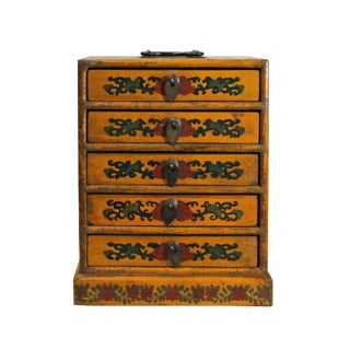 Chinese Distressed Yellow Dragon Graphic Trunk Box Chest For Sale