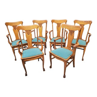 Antique American Oak Pressed Back Dining Arm Chairs - Set of 6 For Sale