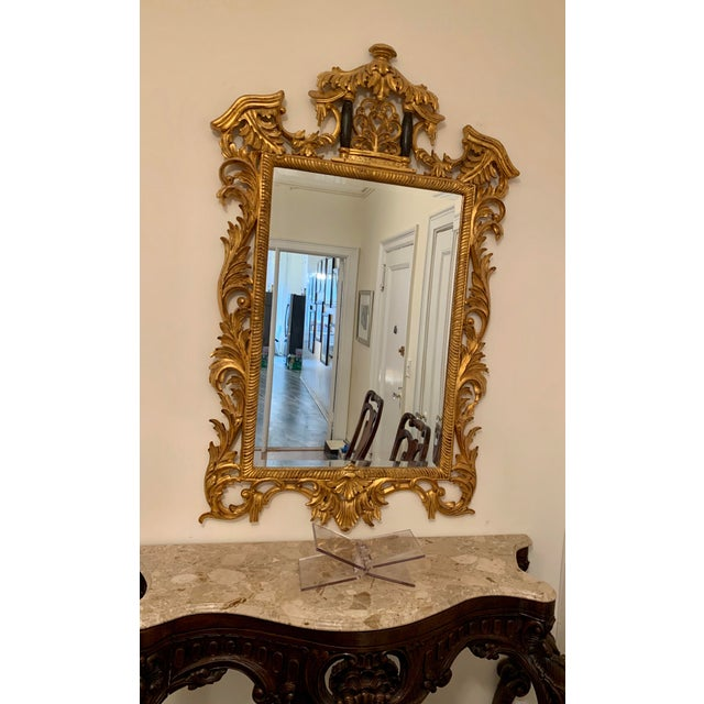Two Custom Made 18th Century Gold Chinoiserie Style Framed Mirror. Priced individually.