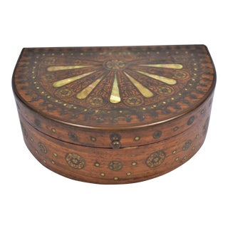 1960s Wood Box With Brass & Mother of Pearl For Sale