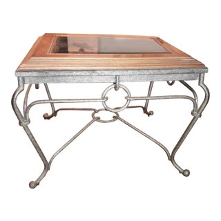 Beveled Glass Top Iron End Table