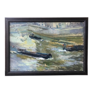 French Impressionist Watercolor River Scene by Rene Levrel 1950s For Sale
